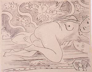 Image of Nu couche a la coupe de fruits (Reclining nude with a bowl of fruit)
